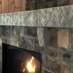 This customer chose a mix of Ashlar and Ledgestone New England Veneer Stone in New England Blend for this rustic fireplace design.