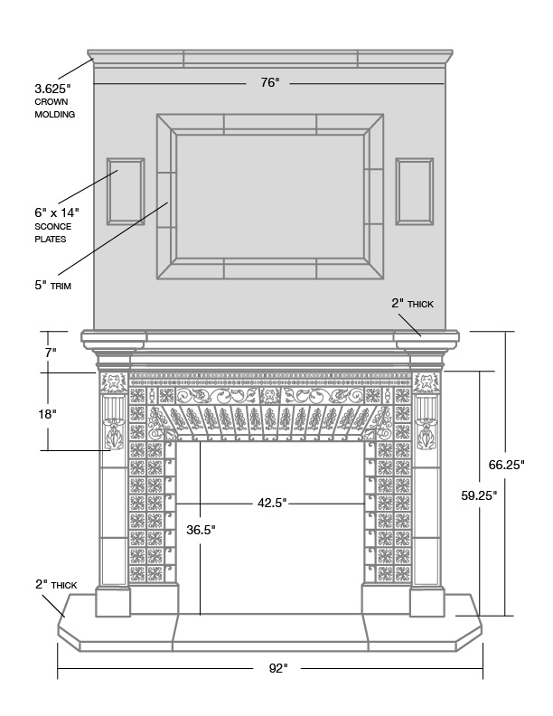 Optional New England Veneer Stone overmantel can be configured in any height.