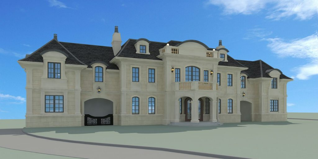 New Jersey Castle Rendering Front Elevation