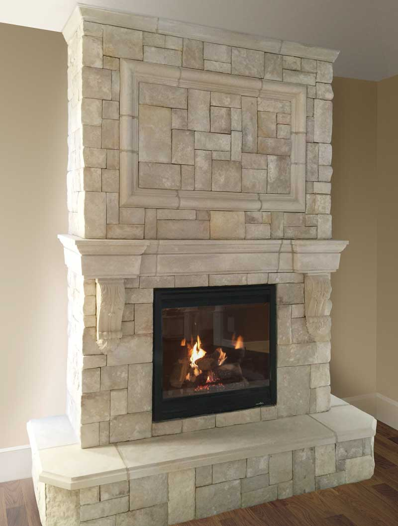 Cast fireplace mantels integrate with veneer stone for Cast stone fireplace mantels